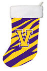 Tiger Stripe - Purple Gold Initial V Monogram Initial Christmas Stocking