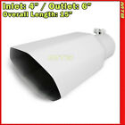 Exhaust Muffler Tip 214293 Truck Angled Octagon White 15 inch Bolt On 4 In 6 Out