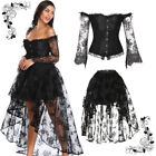 Women Steampunk Victorian Off Shoulder Corset Top with High Low Skirt Dance Ball