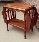 Solid Walnut Side Table with Magazine Racks Unique