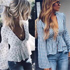 Womens Sexy Deep V neck Bell Long Sleeve T Shirt Casual Blouse Tops Front Tie US