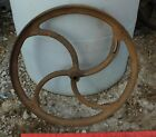 BIG Antique Industrial Age Machine Cast Iron Fly Wheel Belt Pulley Steampunk #10
