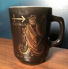 Rare Vintage Anchor Hocking Milk Glass Sagittarius Zodiac Mug Cup Gold Black MCM