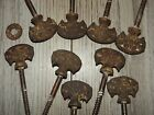 9 ANTIQUE IRON ORNAMENTAL NAILS PICTURE ART HANGER WALL HARDWARE RUSTIC SALVAGE