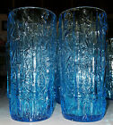 2 Beautiful Vintage Aqua Blue Glass Bamboo Tumblers TAHITI TIKI Retro 1960s