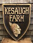 Beautiful Old KESAUGH Farm Indian Chief Head Folk Art Wooden Sign New Hampshire