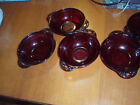Ruby RED Glass Vintage Berry Bowls