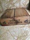Antique Cherry Fruit Wood Box Sweet Cherries Stamped Square Fruit Box with Lid