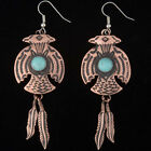 Copper Turquoise Thunderbird Earrings Native Made Dangles