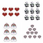 10Pcs Heart Rainbow Cute Panda Charms Pendants DIY Craft Jewelry Making Findings