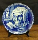 Vtg Delfts Boch Freres La Louviere Belgium Woman Reading Book Wall Plate 9 7/8