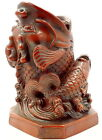 Vintage Chinese Carved Resin Lucky Figurine of Carps fish  is pen holder .