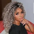 US Stock Afro Curly Gray Wig Synthetic Ombre American Wigs Curly Wig for Women