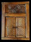 Antique carved wood rustic wall hanging 2 doors iron hardware decor 26x19x 2