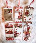 Set of 6 Hang Tags Vintage Valentine Roses Gift Tags Scrapbooks Cards 11R