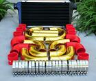 12 Pcs 3 Black Intercooler Gold Piping Red Silicone Coupler Clamp Kit