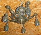ANTIQUE VICTORIAN/ART NOUVEAU 5-LIGHT CEILING FIXTURE (CHANDELIER)