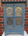 Bathroom Kitchen reproduction wooden wall hanging cupboard cabinet punched tin