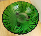 Vintage ANCHOR HOCKING Green Glass BURPLE Footed Bowl