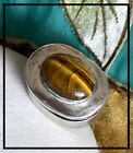 Signed Vintage Mexico Sterling Silver Tigers Eye Small Pill Box Old Eagle 2 Mark