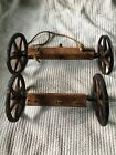 ANTIQUE PRIMITIVE EARLY WOOD CHILD'S TOY WAGON WHEELS AND AXLE