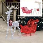 Christmas Outdoor Reindeer With Sleigh Decoration Pre Lighted Yard Deer Ornament