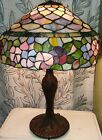 16 Tiffany Style Leaded Stained Glass Lamp Shade Mosaic Lavender Slag