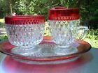 INDIANA GLASS CREAMER/SUGAR-DIAMOND POINT RUBY/C'BERRY FLASH /OVAL UNDERPLATE