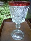 INDIANA GLASS DIAMOND POINT RUBY/CRANBERRY RED FLASH LG COMPOTE/CANDY DISH -URN