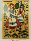 Vintage Wood Cutting Board Wall Decor Pennsylvania Dutch Girls Painted Toleware