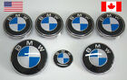 Bmw Emblem Set For Hood Trunk Steering Wheel Logo And 4 Wheel Caps - 7 Pieces