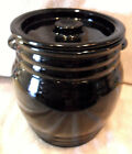 L. E. SMITH BLACK AMETHYST GLASS COOKIE JAR OR CANISTER DOUBLE HANDLE BARREL