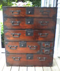 Antique Japanese Tansu Wooden Chest with All Original Fixtures