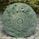 Certified Oily Green Natural Grade A Jade jadeite Carved Dragon Phoenix Pendant