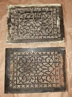 (2) ANTIQUE CAST IRON HEATING GRATE REGISTER VENT FLOOR WALL ORNATE Circa 1907