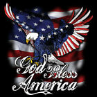God Bless America USA Eagle Flag Red White  Blue Patriotic T Shirt Tee
