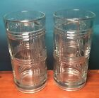 VHTF Vintage Anchor Hocking Heavy Tumblers Clear Glass Tartan-Like GLEN PLAID