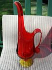 Vintage LE SMITH Amberina Glass Pitcher Candleholder Vase With Handle-Tall!