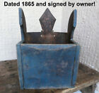 ۞ Antique Primitive Wooden Wall Box Old Blue Paint ☛Dated 1865 ☛ signed by owner