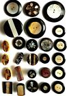 #3H Lot 26 Pearl Inlaid Laminated Celluloid Horn Paper Mache Flower Buttons