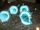 VINTAGE FENTON L G WRIGHT BLUE OPALESCENT HORN EPERGNE REPLACEMENT CHOOSE 1