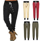 Women Harem Casual Slim Baggy Buttons Pants High Waist Cotton Palazzo Trousers