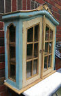 Vtg. French Painted Wall Cabinet Spice Vitrine Display Curio Glass Curve Top
