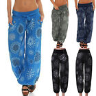 Womens Floral Harem Aladdin Pants Causal Baggy Gypsy Loose Dance Yoga Trousers