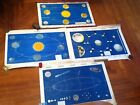 VINTAGE ASTRONOMY SCHOOL MAP CHARTS LOT OF 4 MOON EARTH PLANETS COMETS.SWEDEN