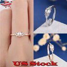 18K Rose Gold Silver Plated Round Cut White Pearl Women Wedding Ring Size 6 10