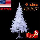 4 5 6 7 FT Tall White Artificial Christmas Tree W Solid Stand For Holiday Decor