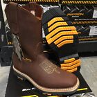 MENS STEEL TOE WORK BOOTS GENUINE LEATHER BROWN WESTERN COWBOY PULL ON BOOTS