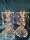Vtg LE Smith Glass Pair Elegant Candle Stick Holders w Prisms