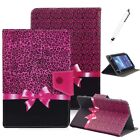 """For 7"""" -10.1"""" Tablets Leopard Bow Universal Stand PU Leather Case Cover Gift New"""